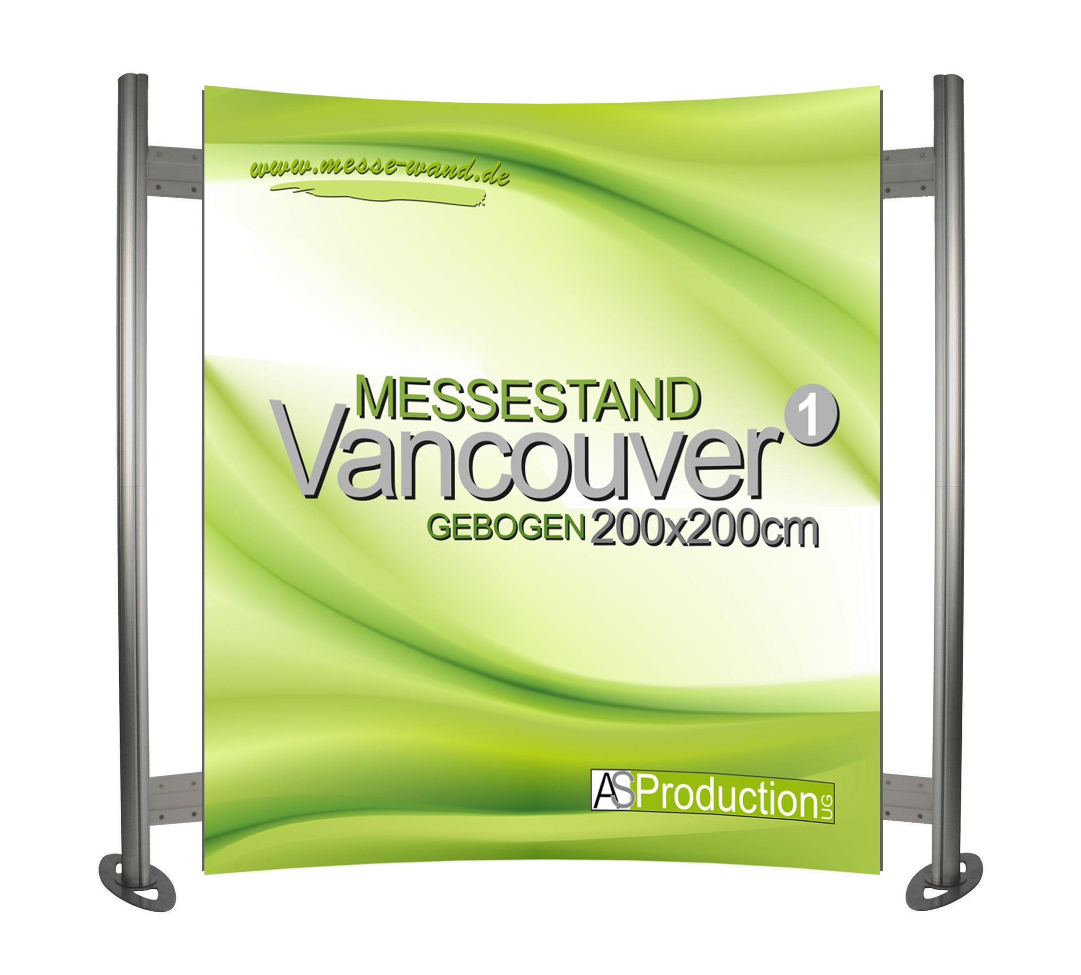 Messestand Promotionwand Vancouver  Gebogen 200 x 200 cm
