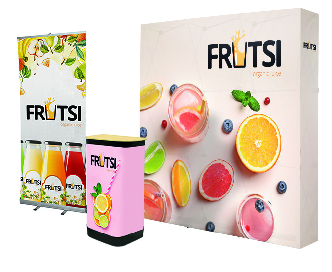 Messestand Fruit mit Messewand, Roll Up und Transportkoffer