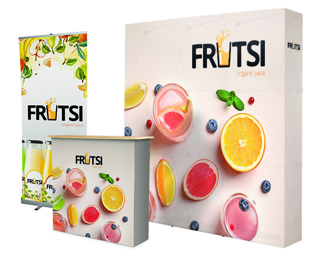 Messestand Fruit mit Messewand, Roll Up und Messetheke