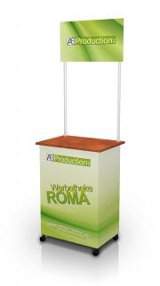 Werbetheke Roma mit Topschild