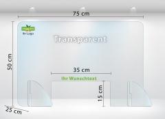 Schutzwand Schutzscheibe Thekenaufsatz aus Acrylglas 75x50 cm