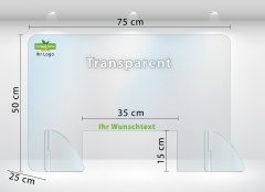 Schutzscheibe Thekenaufsatz aus Acrylglas 75x50 cm