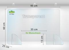 Schutzwand Schutzscheibe Thekenaufsatz aus Acrylglas 95x60 cm